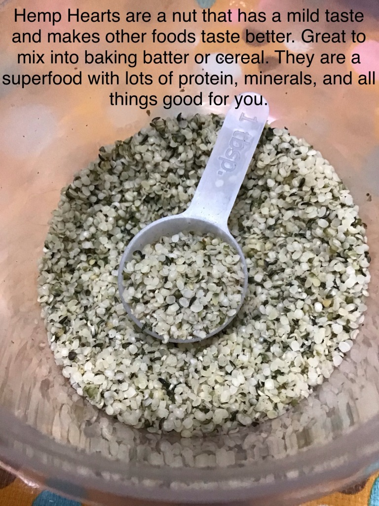 Picture of hemp hearts that are used in food preparation