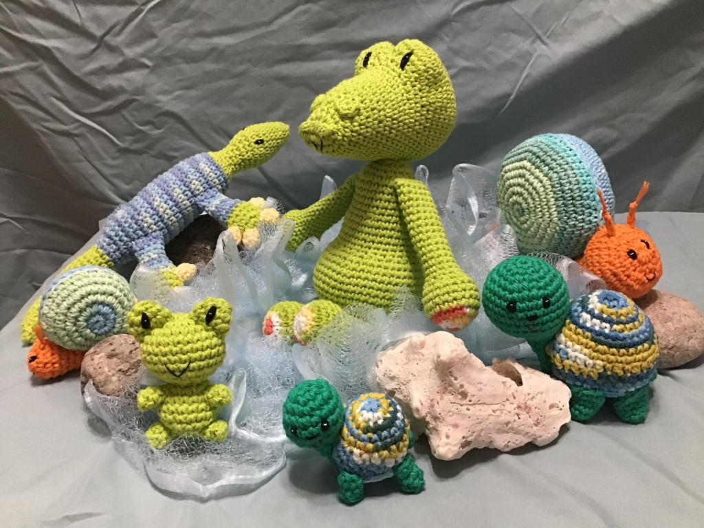 Stuffies from spring with a water theme