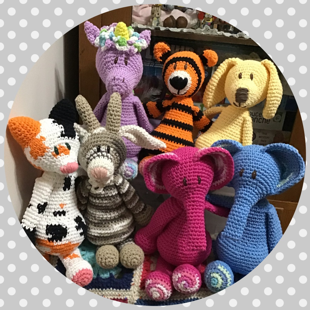Lots of crochet stuffed animals from Edward's Menagerie book