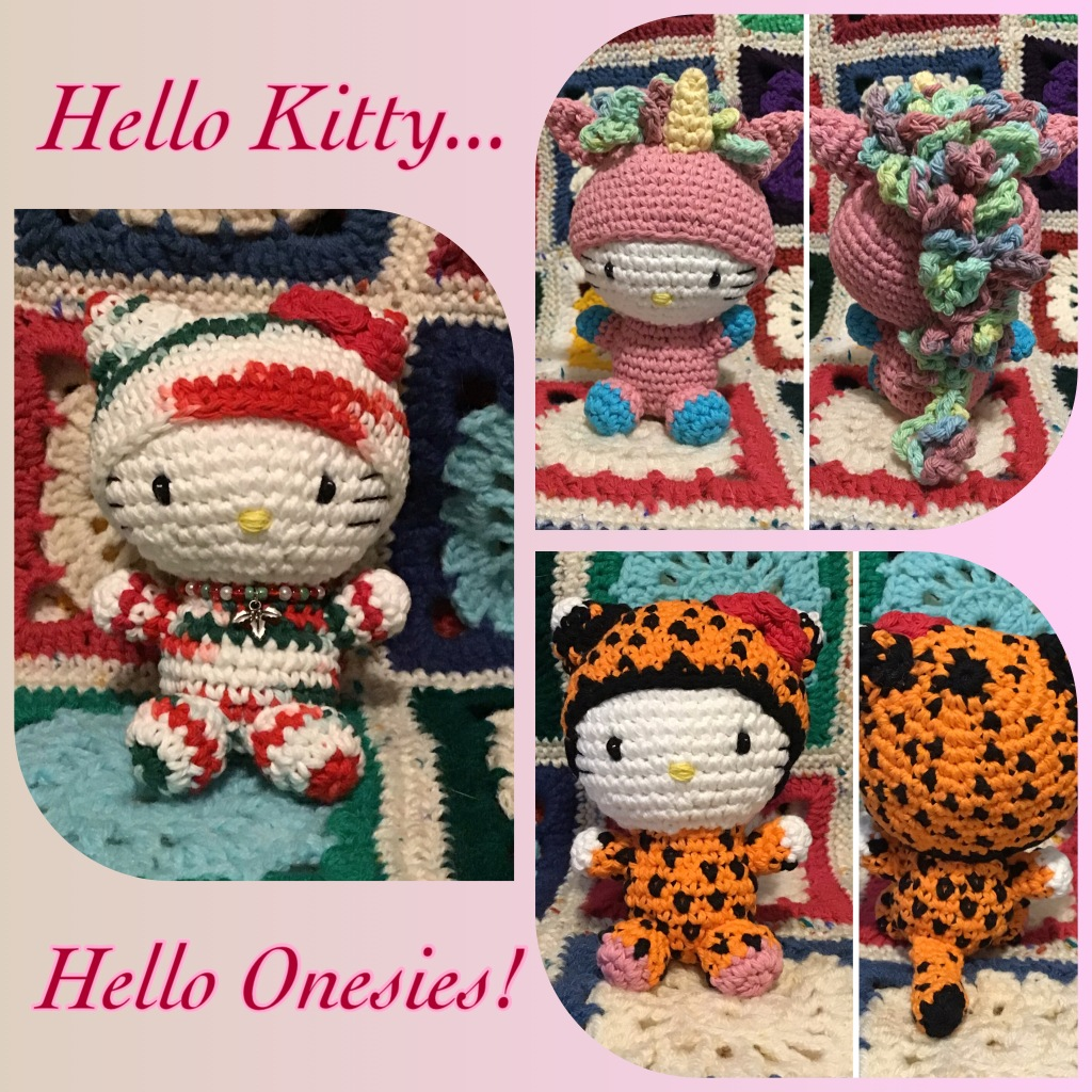 Hello kitty in Christmas, unicorn, and cheetah outfits