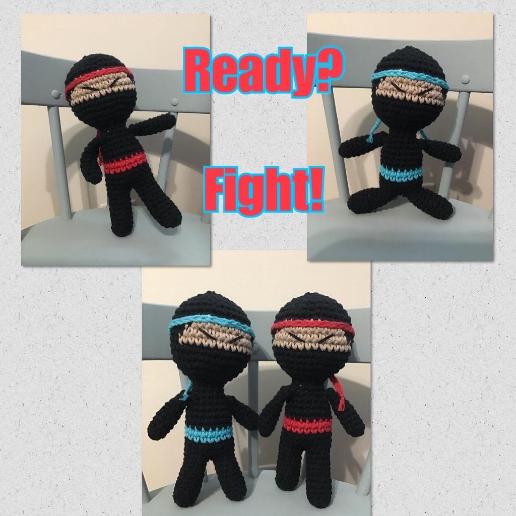 """Ninja stuffie dolls. Text """"Ready? Fight!"""""""