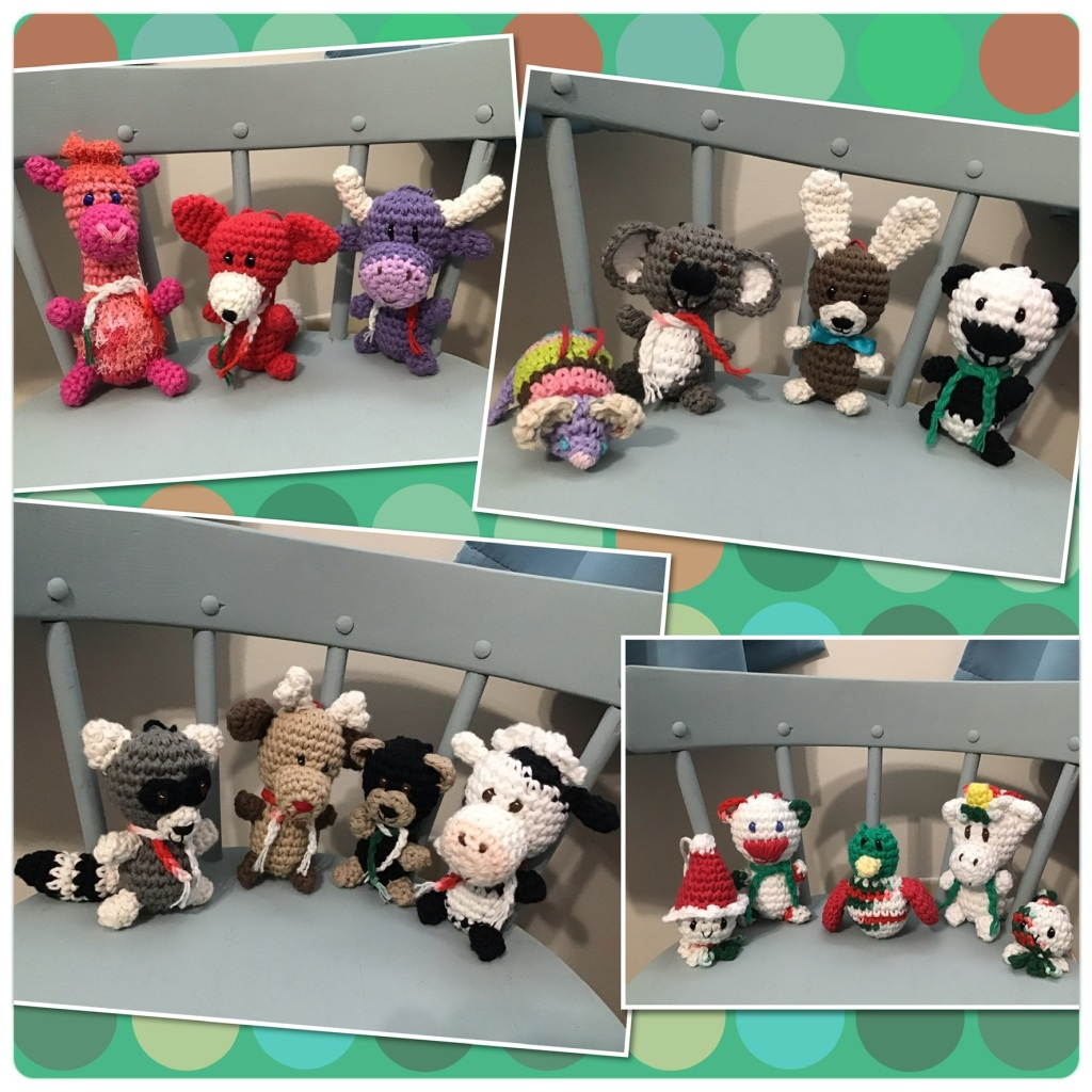 Collage of lots of crochet stuffed animals and dolls