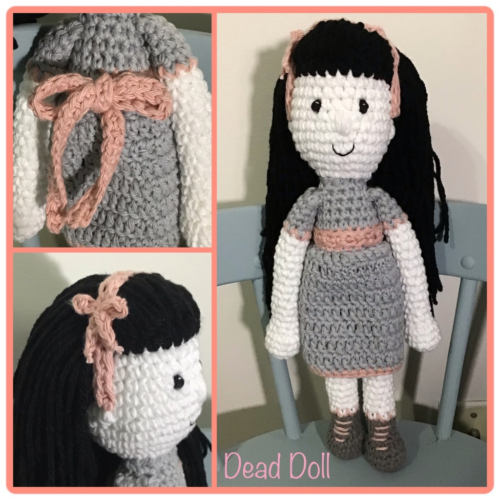 """""""Dead"""" doll...whit skin with Victorian outfit and black hair"""
