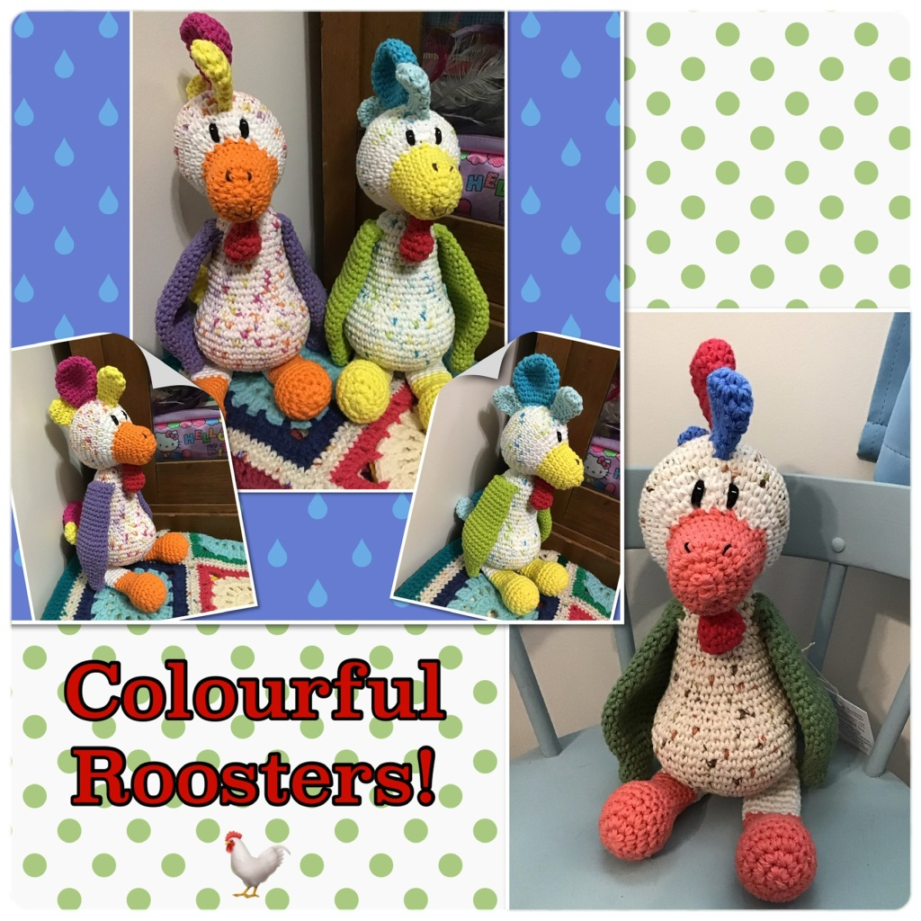 Colourful rooster stuffies