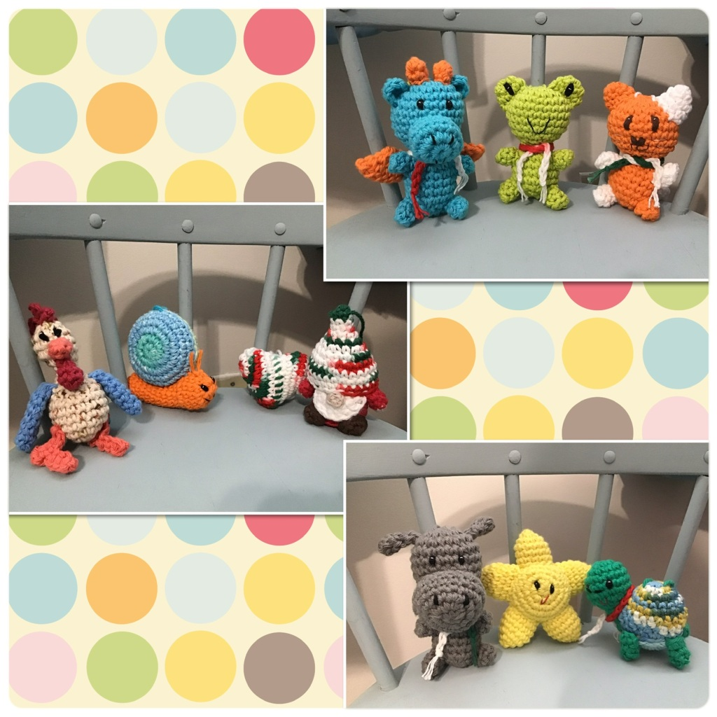 Collage of lots of crochet stuffed animals