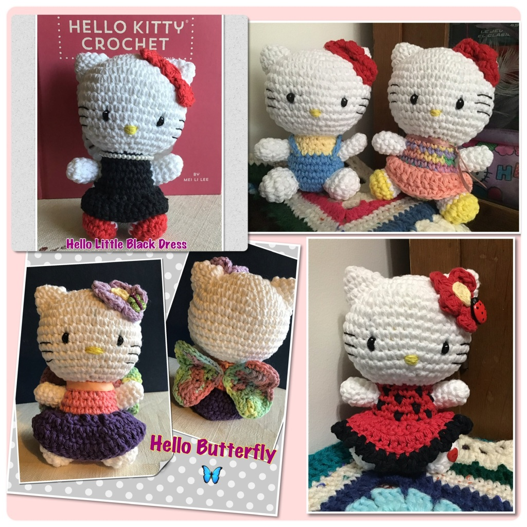 Hello kitty in little black dress, overalls, skirt, butterfly, and lady bug outfits