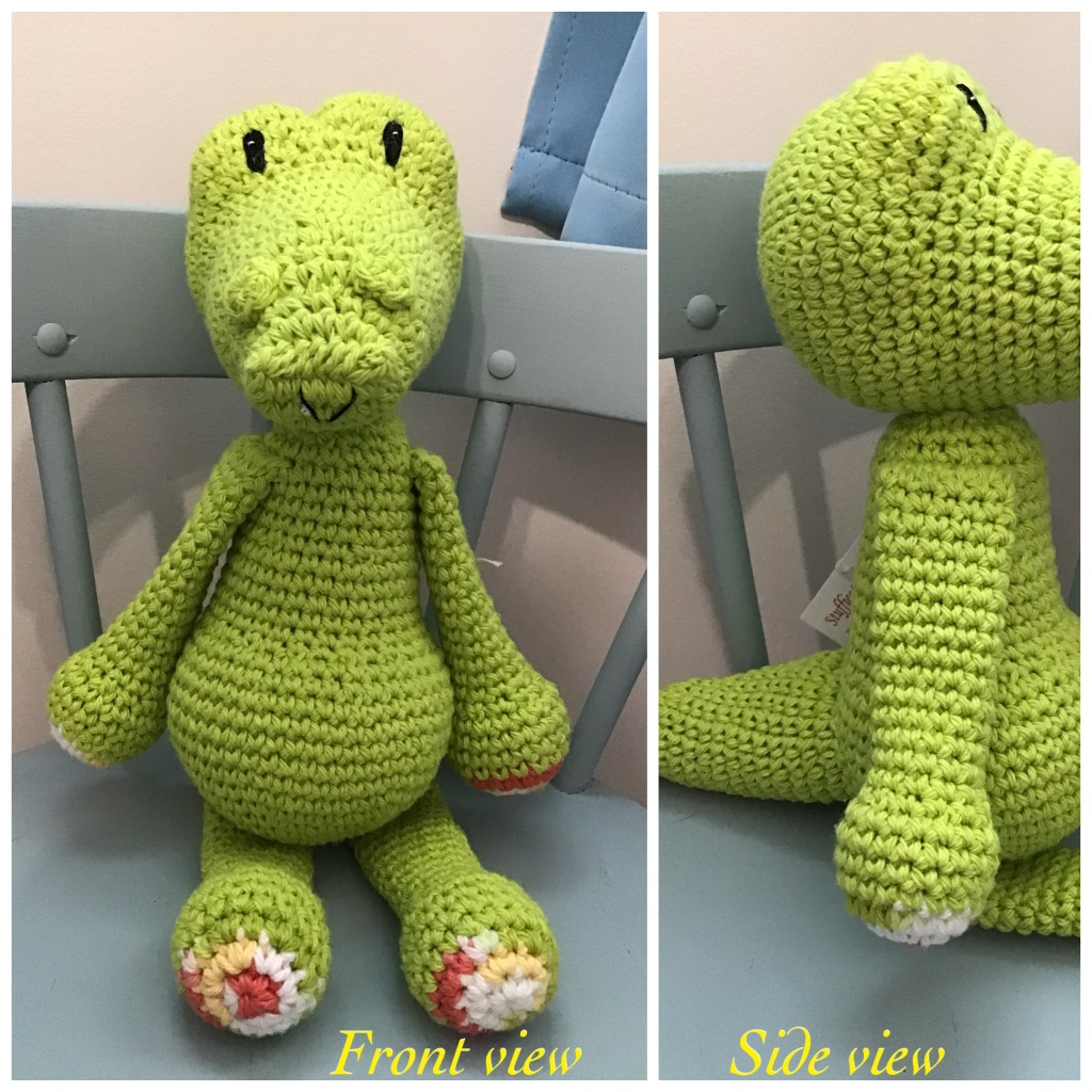 Alligator stuffie with front and side views