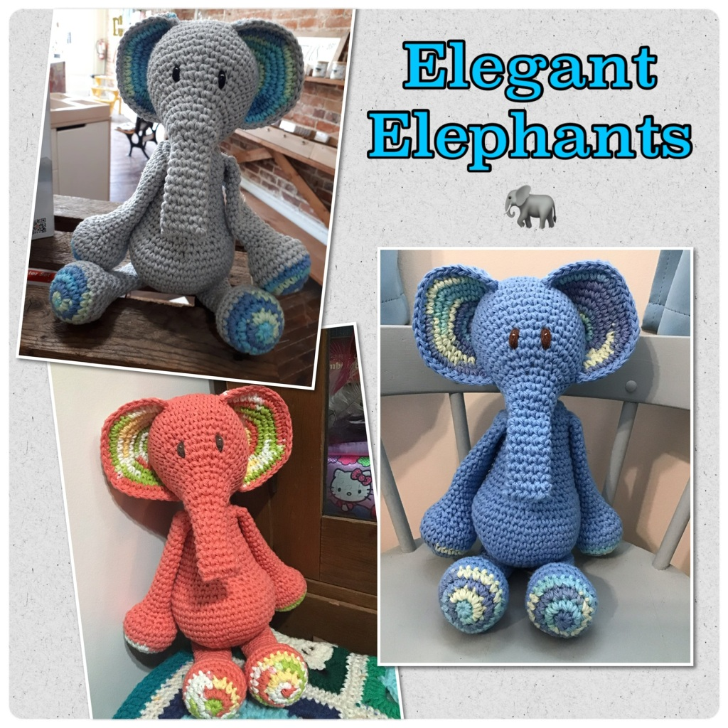 Elegant elephants (grey, blue, and coral orange)