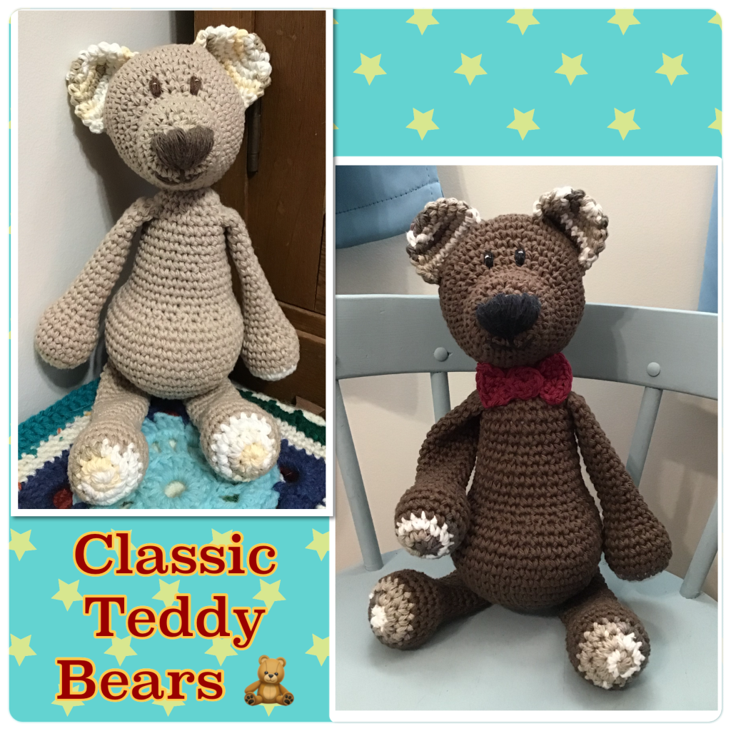 Teddy bear stuffies (a tan bear and a brown with bow tie)