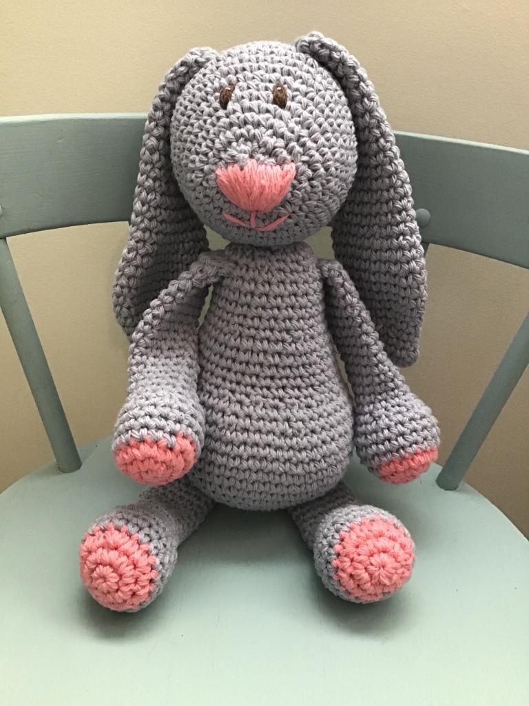 Bunny crochet stuffie in grey purple