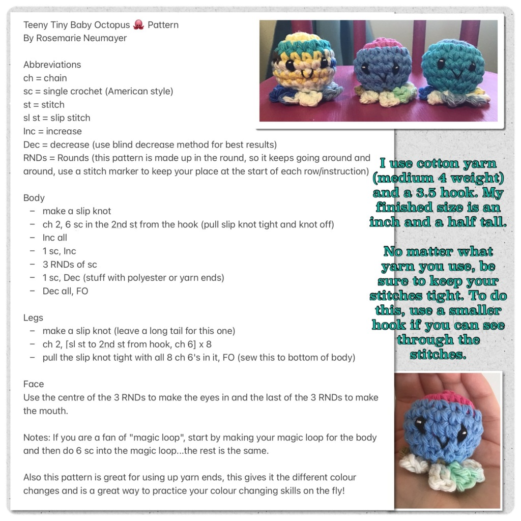 Free pattern picture for tiny baby octopus