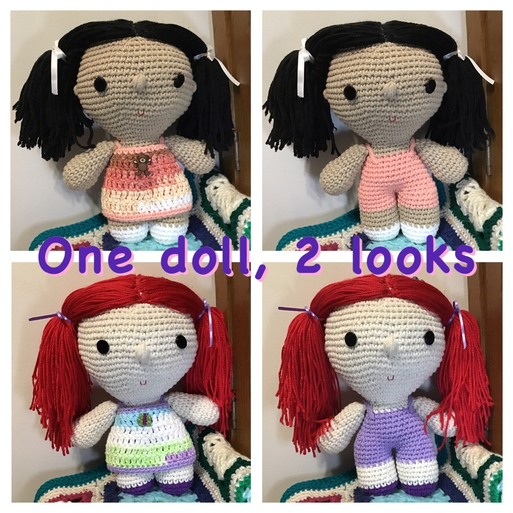 """2 big headed dolls in """"one doll, two looks"""" style. These have overalls and a wrap dress"""