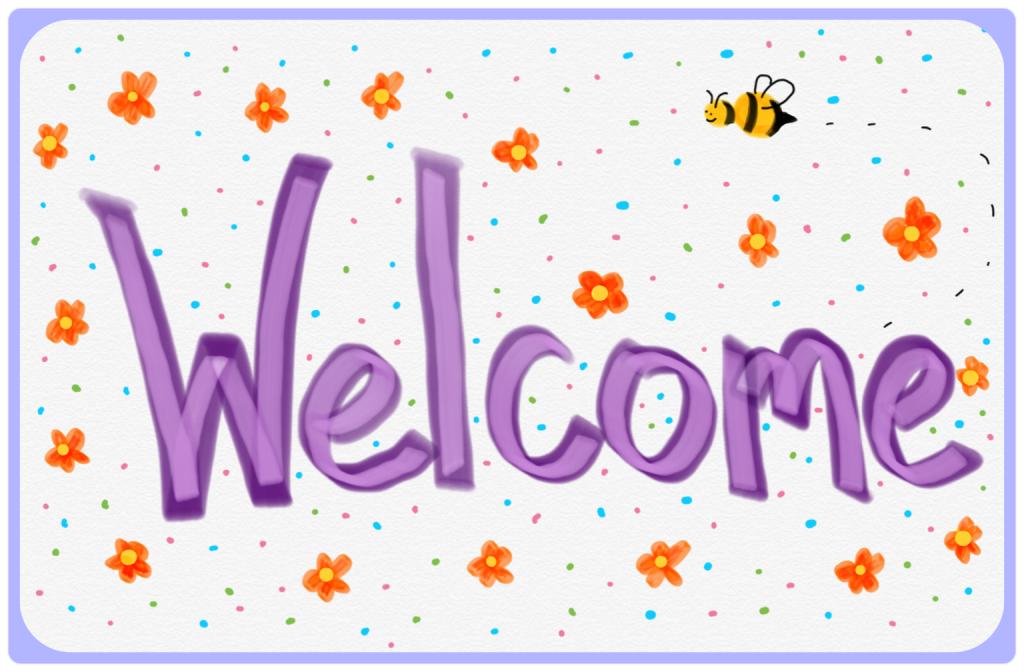 Welcome digital drawing with flowers and a bubble bee