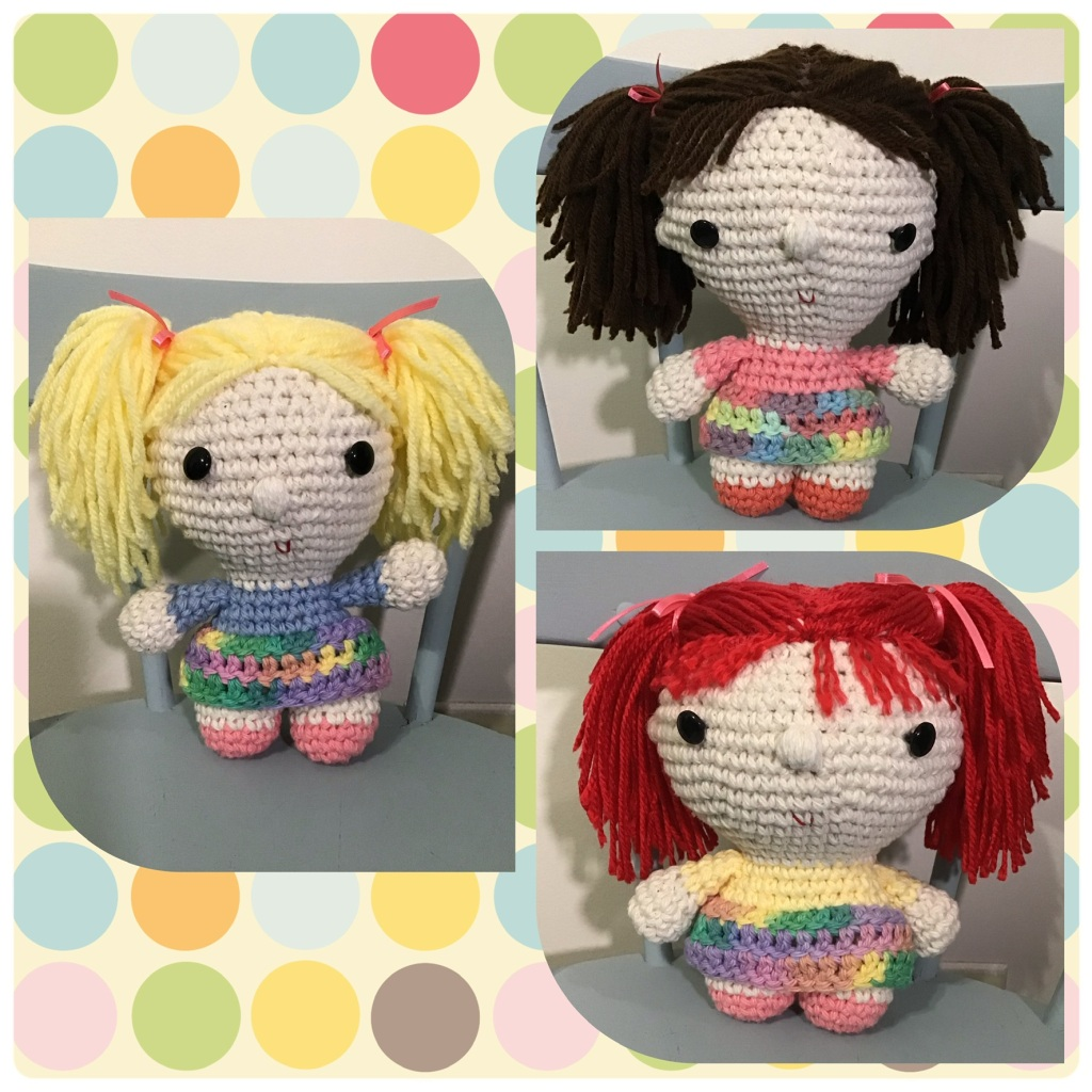 Small big headed dolls, blond, brunette, and red head
